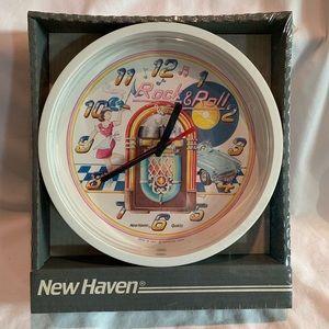 "NWT Vintage 1990 wall clock 50's ""Rock & Roll"""